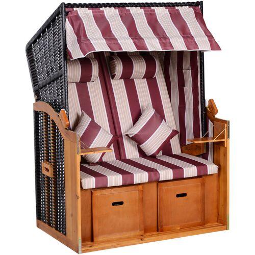 Outsunny ® Strandkorb mit Dach und Fußstütze PE Rattan Rot - rot/weiß - Outsunny
