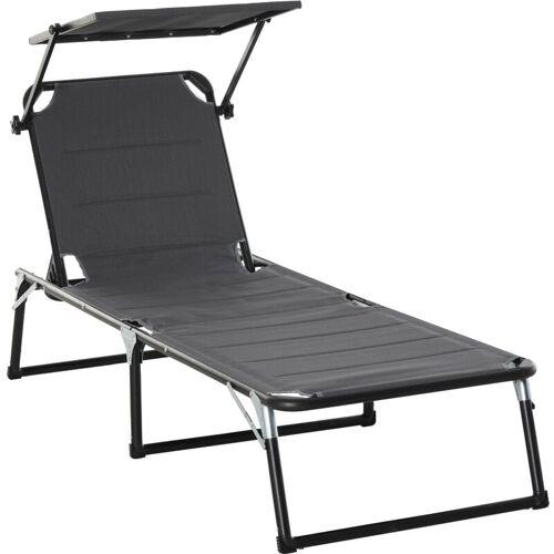 Outsunny ® Gartenliege mit Dach Alu Sonnenliege Relaxliege 5-fach verstellbar