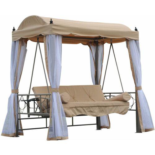 Outsunny ® Hollywoodschaukel Gartenschaukel 3-Sitzer Metall Beige - beige/weiß