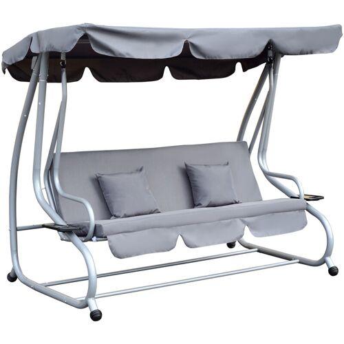 Outsunny ® Hollywood-Gartenschaukel Gartenliege Schaukelbank 3-Sitzer Stahl