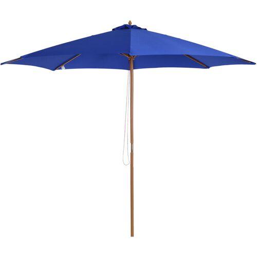 Outsunny ® Holz Sonnenschirm 300x245cm Gartenschirm Balkonschirm Blau - blau