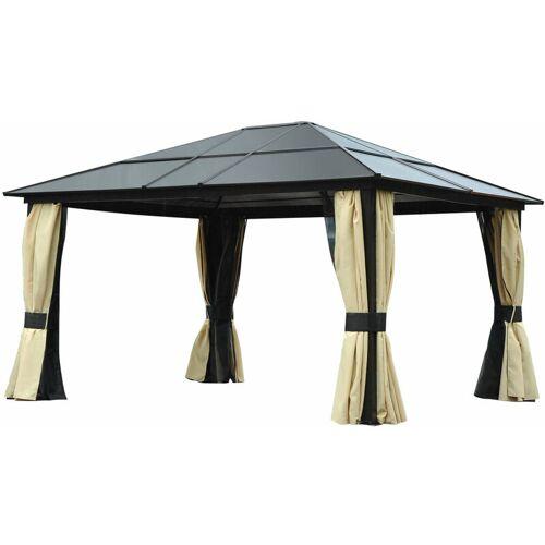Outsunny ® Pavillon Garten Luxus 4,3 x 3,6 m Braun Schwarz - Outsunny