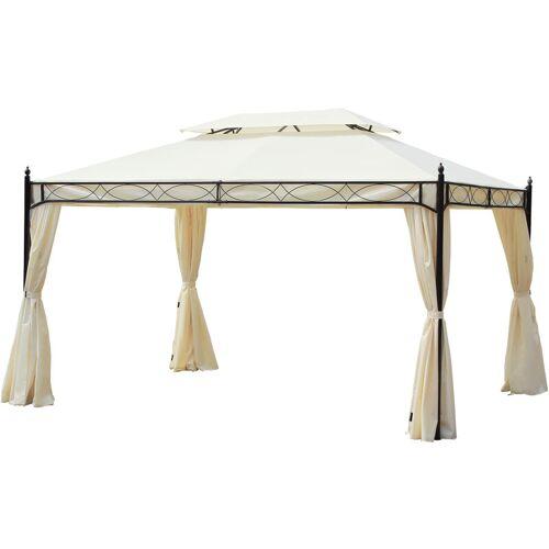 Outsunny® Luxus Pavillon Gartenzelt Pagode 3x4 m - cremeweiß/schwarz
