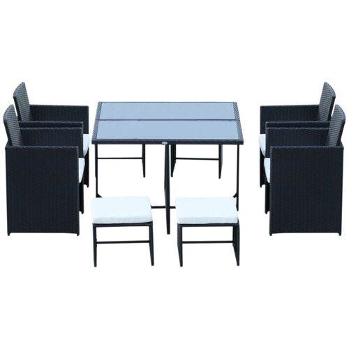 Outsunny ® Polyrattan Essgruppe 21 tlg. Rattan Sitzgruppe 4 Stühle 4 Hocker