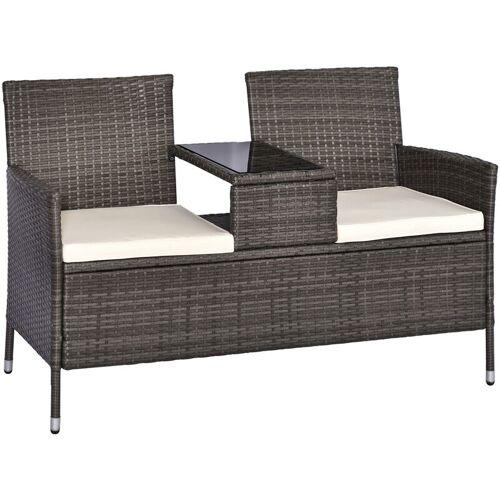 Outsunny® Polyrattan Gartenbank Gartensofa mit Tisch 2-Sitzer Stahl