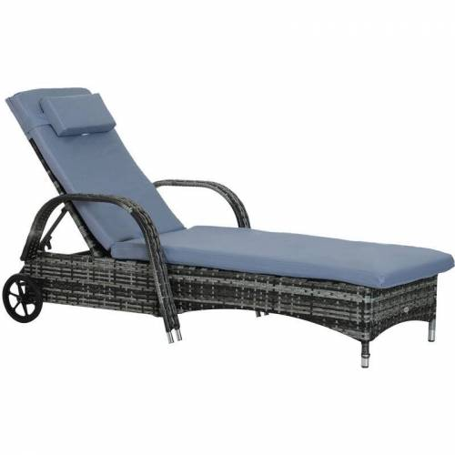 Outsunny® Polyrattan Gartenliege Sonnenliege Rattanliege Gartenmöbel