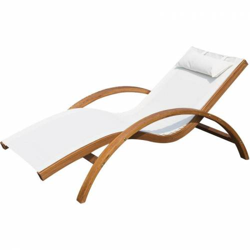 Outsunny ® Sonnenliege Liegestuhl Holz creme - cremeweiß/natur - Outsunny