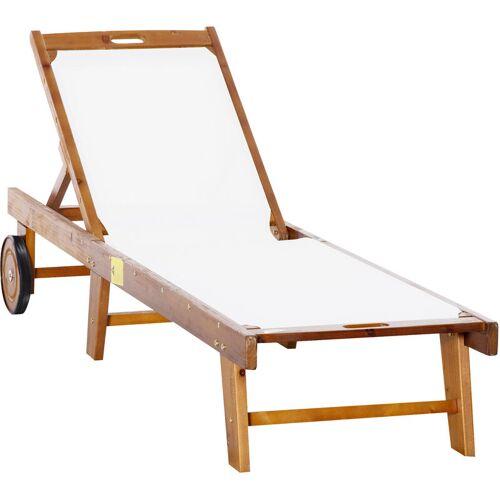 Outsunny ® Sonnenliege Relaxliege Gartenliege verstellbar Akazienholz Textil