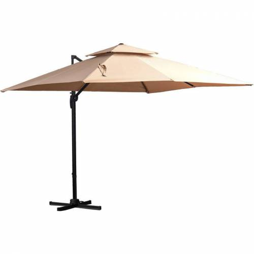 Outsunny ® Sonnenschirm 3x3m Gartenschirm Alu Terrassenschirm 360 grad