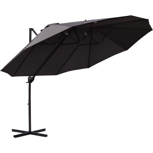 Outsunny® Sonnenschirm mit Kurbel Doppelschirm Gartenschirm