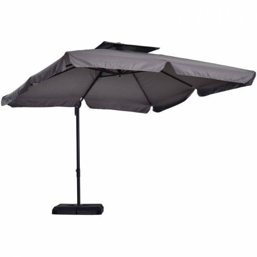 Outsunny® Sonnenschirm UV50+ Ampelschirm Ständer und 4 Gewichten inkl.