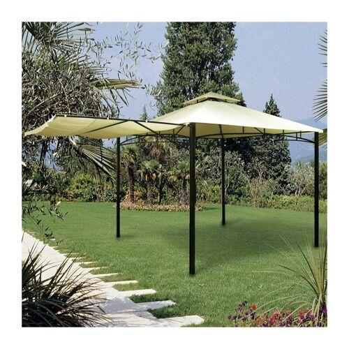 Caesaroo - Pavillon 3,3x3,3 m aus lackiertem Metall mit Seitenmarkise,