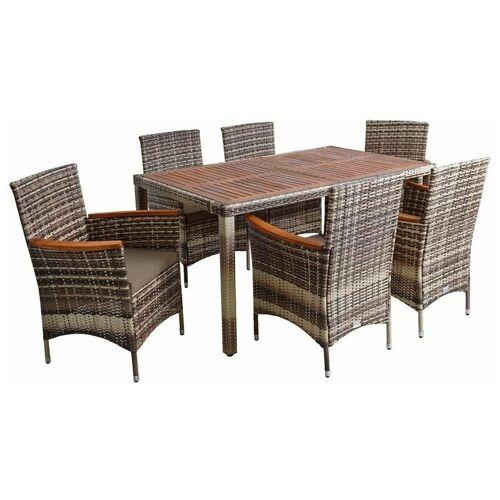 ESTEXO Polyrattan Gartenmöbel Tisch Stühle Rattanmöbel Essgruppe 6 Personen