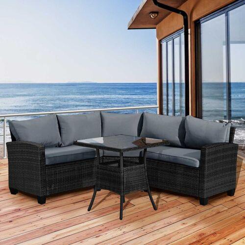 BRAST Polyrattan Sofa Essgruppe BALCONY schwarz/grau