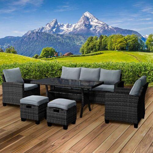 BRAST Polyrattan Sofa Essgruppe DELIGHT schwarz/grau