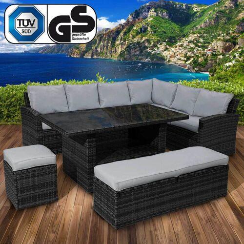 BRAST Polyrattan Sofa Essgruppe ECO schwarz/grau