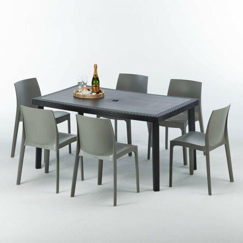 Grand Soleil - Poly Rattan Tisch Rechteckig mit 6 Bunten Polyrattan