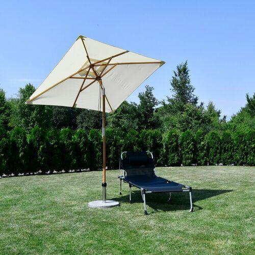 SEKEY Holz Sonnenschirm für den Balkon, 200 x 155cm, rechteckiger