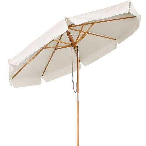 SEKEY Sonnenschirm 300 cm Holz-Sonnenschirm Marktschirm Gartenschirm
