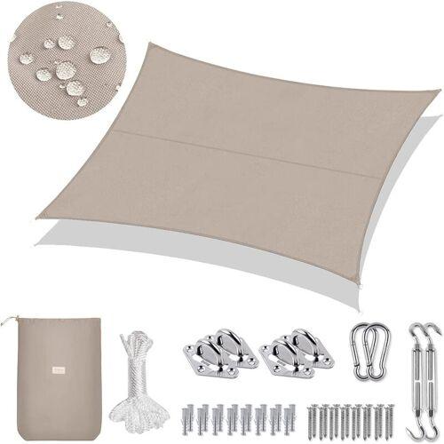 SEKEY PES Sonnensegel 300 x 400cm Sonnenschutzsegel, Taupe mit Montageset