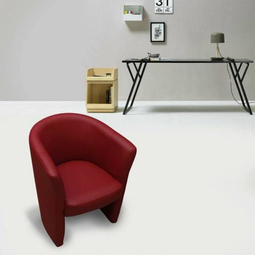 DMORA Sessel aus roter Öko-Lederpolsterung