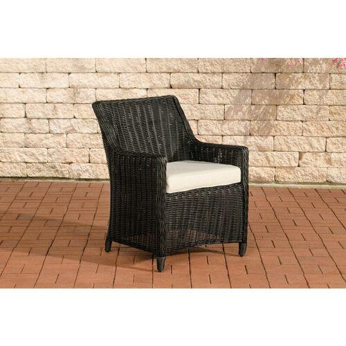 CLP Luxus Sessel Sandnes-rund_schwarz-Cremeweiß