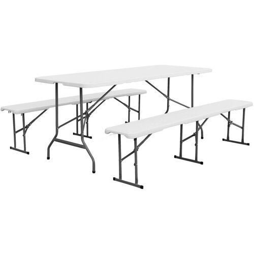 Alice's Garden - Set Klappbarer Empfangstisch und Sitzbänke aus