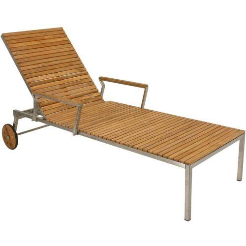 Harms - Sonnenliege Teak Teakholz Edelstahl 197cm Holz Garten Balkon