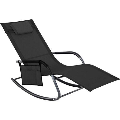 SONGMICS Gartenstuhl, Sonnenliege, Schaukelstuhl mit Kopfstütze und