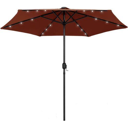 ZQYRLAR Sonnenschirm mit LED-Leuchten Alu-Mast 270 cm Terracotta-Rot