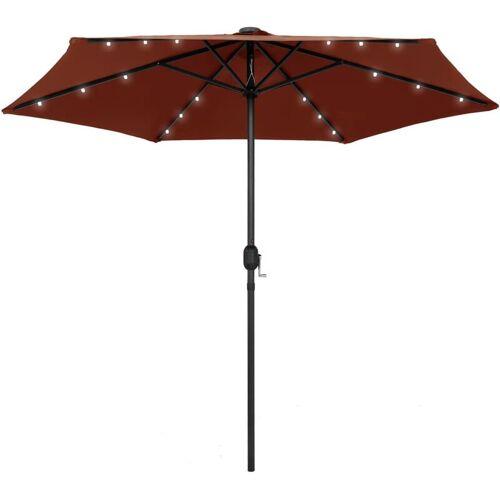 VIDAXL Sonnenschirm mit LED-Leuchten Alu-Mast 270 cm Terracotta-Rot