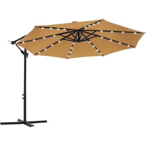 SONGMICS Sonnenschirm mit LED-Solar-Beleuchtung, Ampelschirm, Gartenschirm, 32