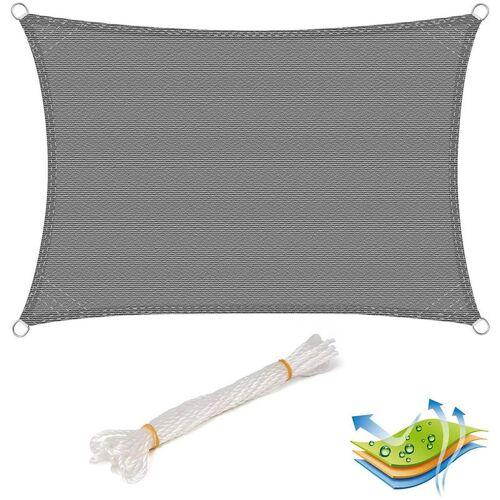 WOLTU Sonnensegel Sonnenschutz HDPE Windschutz UV Schutz Grau 4x5m