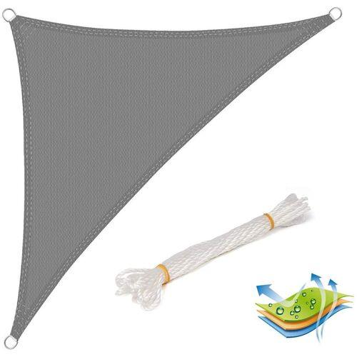 WOLTU Sonnensegel Sonnenschutz HDPE Windschutz UV Schutz Grau 5x7x7m