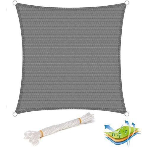 WOLTU Sonnensegel Sonnenschutz HDPE Windschutz UV Schutz Grau 4x4m