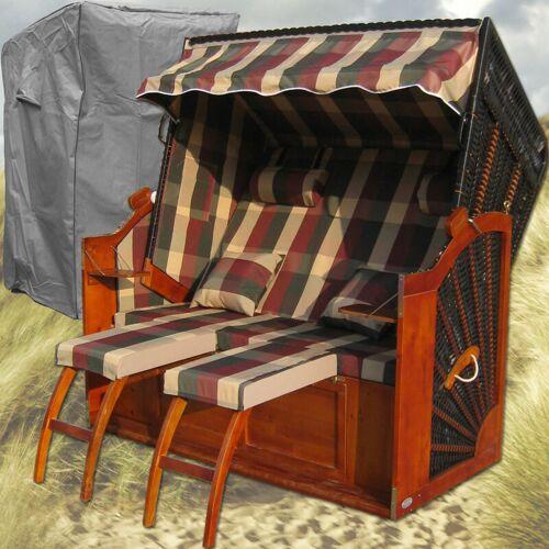 GARDENI Strandkorb Angebot # 2-Sitzer # XXL # rot-grün # Polyrattan - GARDENI