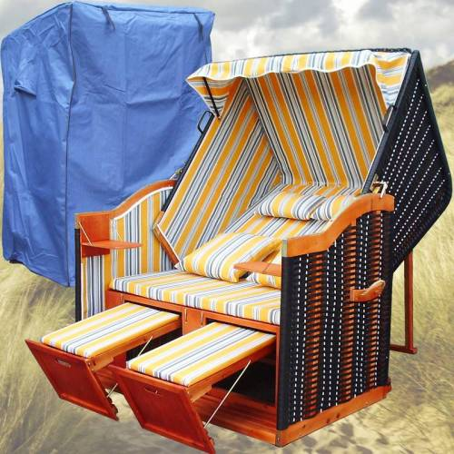 GARDENI Strandkorb Binz # 2-Sitzer # XL # gelb-blau # Polyrattan