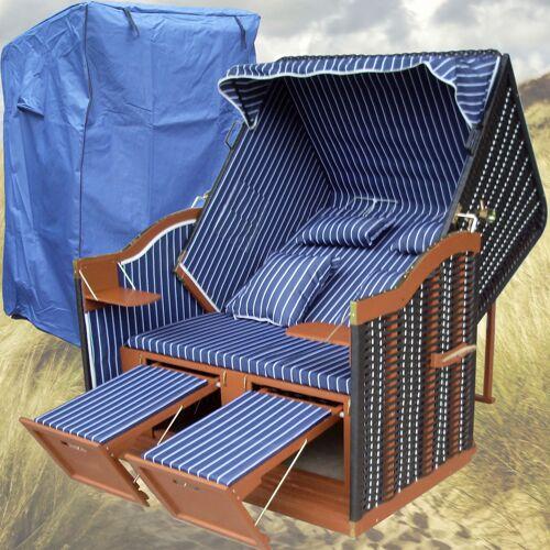 GARDENI Strandkorb Borkum # 2-Sitzer # XL # blau-weiss # Polyrattan