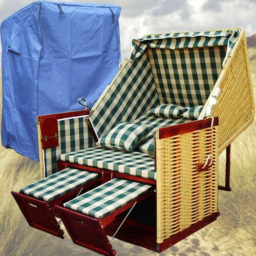 Gardeni - Strandkorb Garten # 2-Sitzer # XL # grün-weiss # Polyrattan
