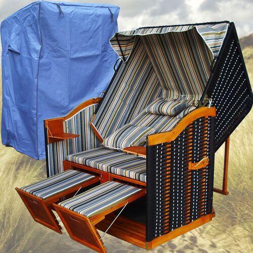 Gardeni - Strandkorb Grau # 2-Sitzer # XL # grau-blau-grün # Polyrattan