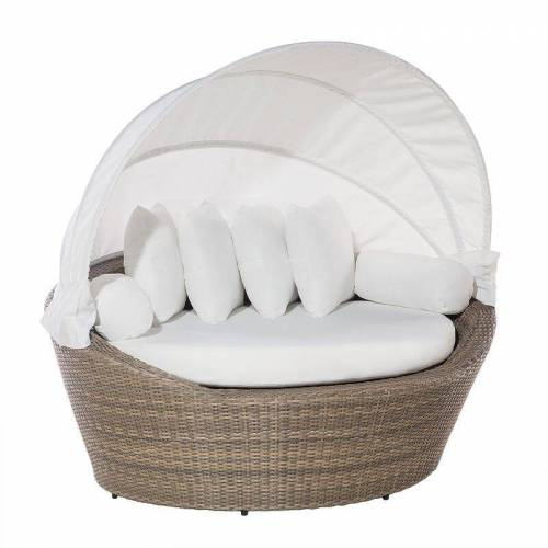 Beliani - Strandkorb hellbraun/cremeweiß Polyrattan Baumwolle 2-Sitzer