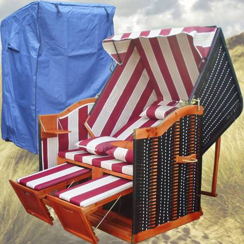 GARDENI Strandkorb Kaufen # 2-Sitzer # XL # rot-weiss # Polyrattan