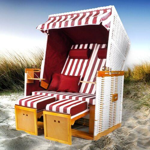 BRAST Strandkorb NORDERNEY weiß/rot gestreift