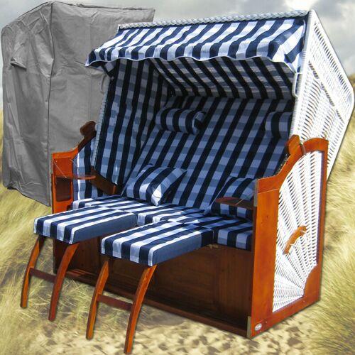 Gardeni - Strandkorb weiss # blau # Schutzhülle # 2x komplette Bezüge #