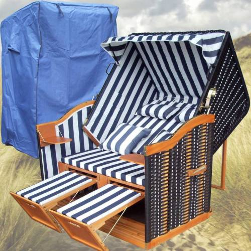 GARDENI Sylt Strandkorb # 2-Sitzer # XL # blau-weiss # Polyrattan