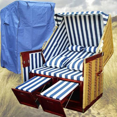 GARDENI Sylter Strandkorb # 2-Sitzer # XL # blau-weiss # Polyrattan
