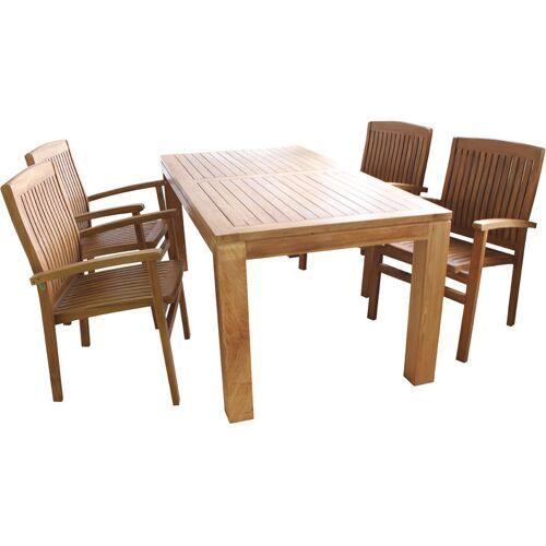 MOJAWO Teak Set für Terasse oder Esszimmer, 1xTH014 Tisch 180x90x75 + 4xNC72
