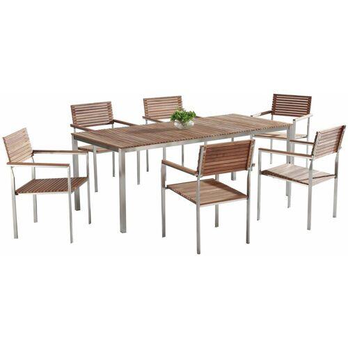 Beliani - Gartenmöbel Set Braun Teakholz Edelstahl 200 cm 6 Stühle