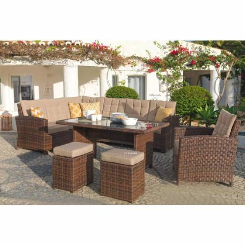 Mojawo - Terassen-Lounge Set braun Chiara-MTLS03