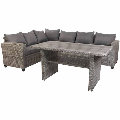 FINEHOME Terassen-Lounge Set LEON grau-DTLS02